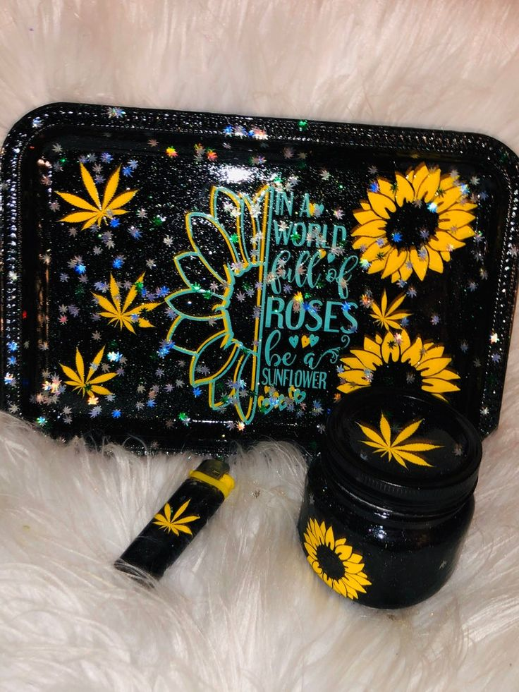 Sunflowers Rolling Tray Medical Tray makeup tray set of 3