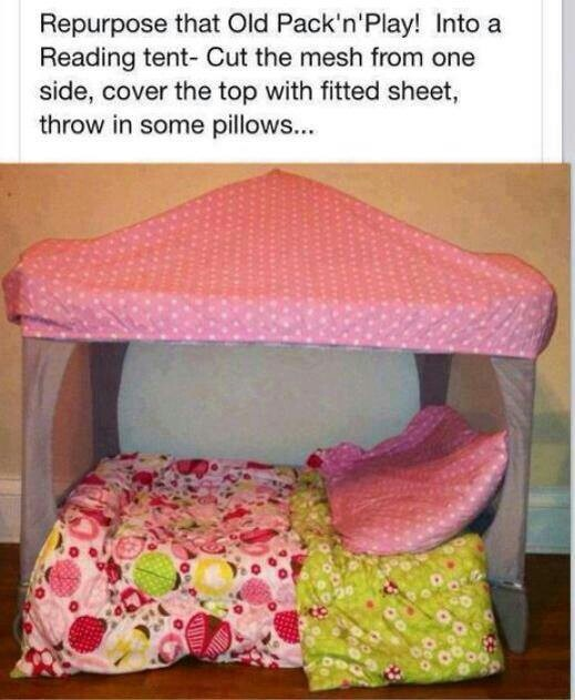 Repurposed pack and play: Dogs Beds, Packs N Plays, Kids Stuff, Toddlers Beds, Cute Ideas, Plays Tent, Reading Tent, Reading Nooks, Great Ideas