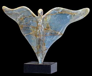 """Joyful Angel"" by Daniel Newman, Original Argentine Onyx Sculpture"