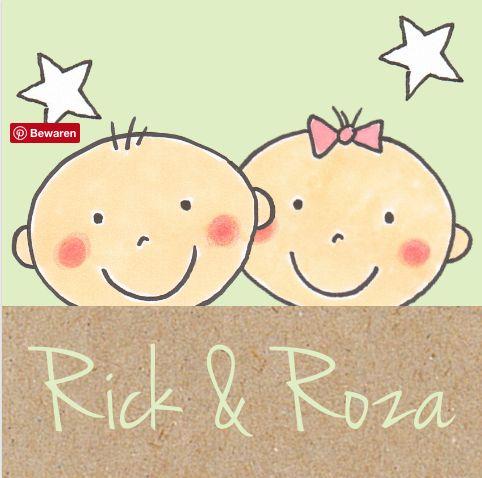 #Grappig #getekend #geboortekaartje voor een #tweeling #jongen en een #meisje. #kraft #tekening #geboorte #zwanger