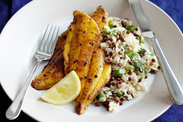 Tumeric Cod with Lentil Rice - made this last night...healthy & tasty!