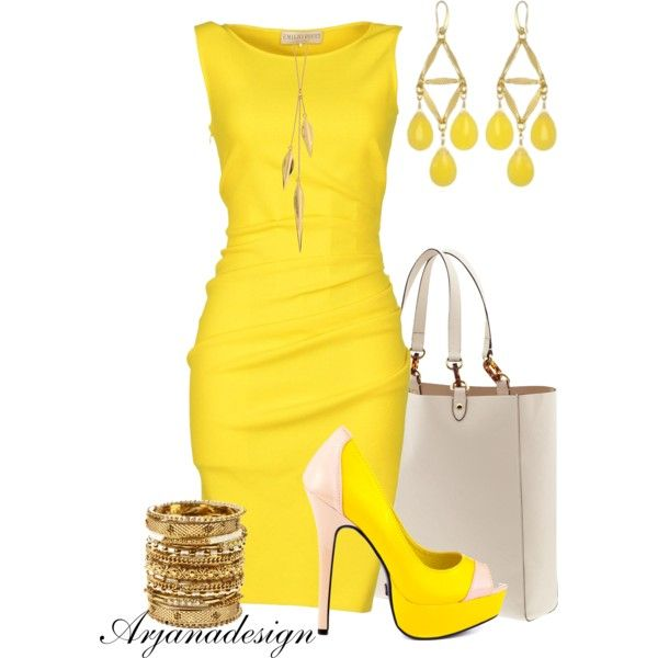"""""""Emilio Pucci Yellow Dress"""" by arjanadesign on Polyvore"""