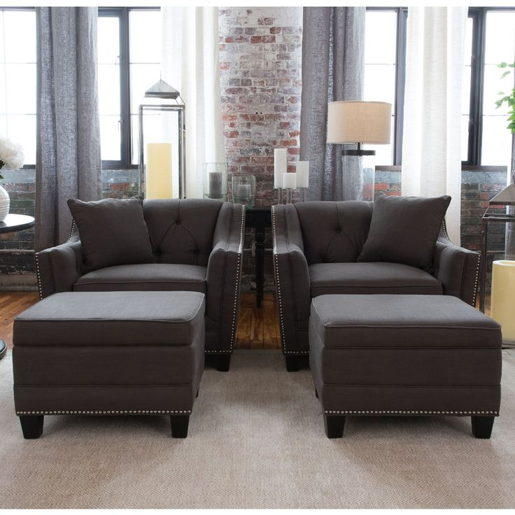 Elements Fine Home Santa Monica 4 Piece Fabric Set   2 Arm Chairs U0026 2  Storage Ottomans In Beachwood