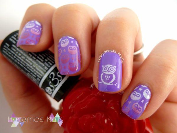 Nail Art Violeta con Buhos