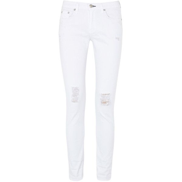 rag and bone The Dash Mid-Rise Skinny Jeans ($68) ❤ liked on Polyvore featuring jeans, pants, bottoms, calças, pantalons, white, distressed jeans, denim skinny jeans, white super skinny jeans and super skinny jeans