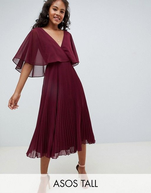 7474b3f7f6a1 DESIGN Tall midi dress with pleat skirt and flutter sleeve in 2019 | Beautiful  dresses | Dresses, Fashion dresses, Pleated skirt