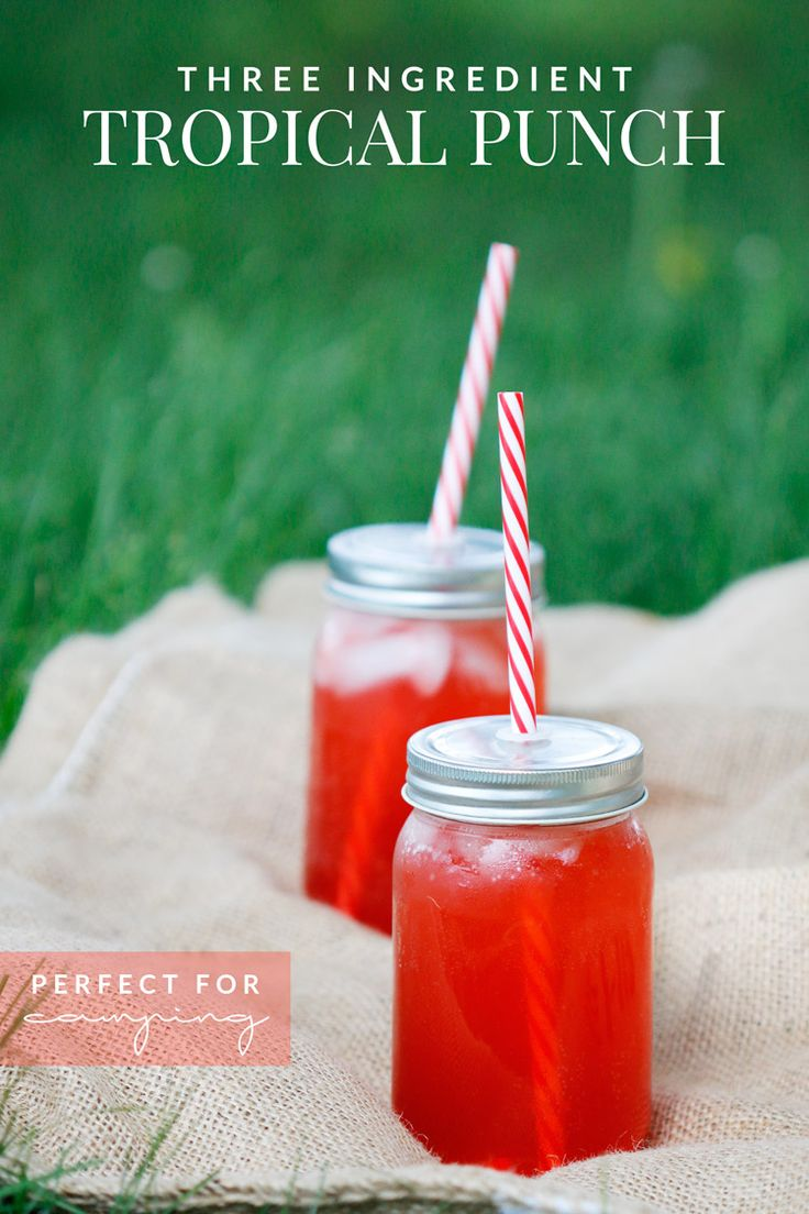 This three ingredient easy tropical punch recipe is the perfect refreshing drink for a hot Summer day. Great to make while camping, too!