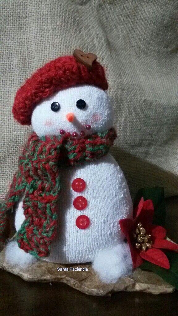 Mini Boneco de neve, com 22cm!!! Inspiração!!!   Criação: Santa Paciência -  https://www.facebook.com/santapacienciaatelie