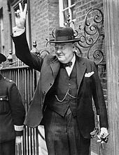 Winston Churchill giving his famous 'V' sign—on 20 May 1940, just ten days after Churchill became Prime Minister, German troops reached the English Channel. Churchill later sought to portray himself as (to some extent) an isolated voice warning of the need to rearm against Germany. While it is true that he had a small following in the House of Commons during much of the 1930s, he was given privileged information by some elements within the Government...