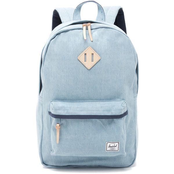 Herschel Supply Co. Heritage Backpack ($96) ❤ liked on Polyvore featuring bags, backpacks, denim, knapsack bags, herschel supply co backpack, zip top bag, padded backpack и blue bag