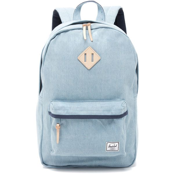 Herschel Supply Co. Heritage Backpack (130 CAD) ❤ liked on Polyvore featuring bags, backpacks, denim, padded bag, zip top bag, blue backpack, backpacks bags и herschel supply co bag
