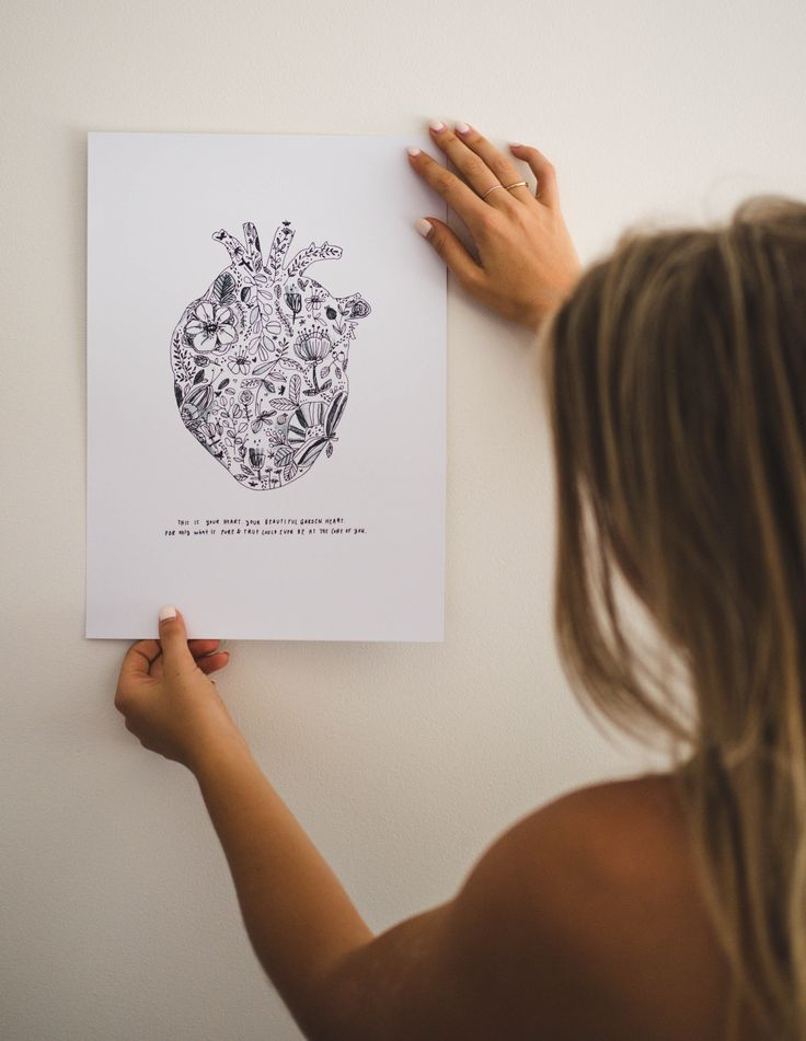 """@brookeartstudio // """"for only what is pure & true could ever be at the core of you"""" - garden heart print #garden #heart #illustration #inkdrawing #drawing #heartbeat #artprint"""