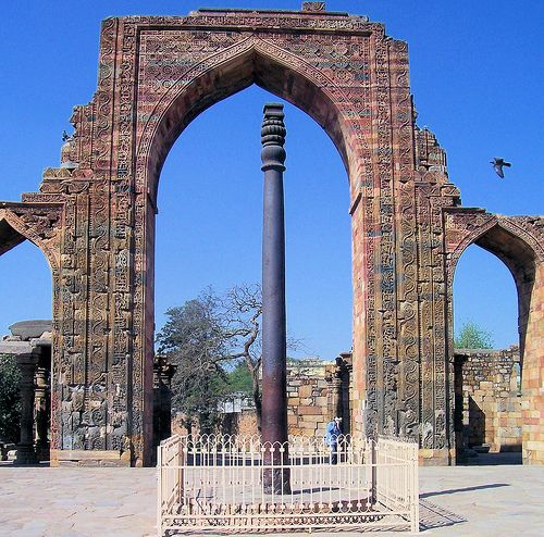 MFS-Strange but TRUE: The IRON PILLAR of Delhi  The iron pillar of Delhi, India is a 7 meter (22 feet) high pillar next to the Qutub Minar. The pillar was apparently erected at the time of Chandragupta II and is a curiosity because of the composition of the metals used in its construction...