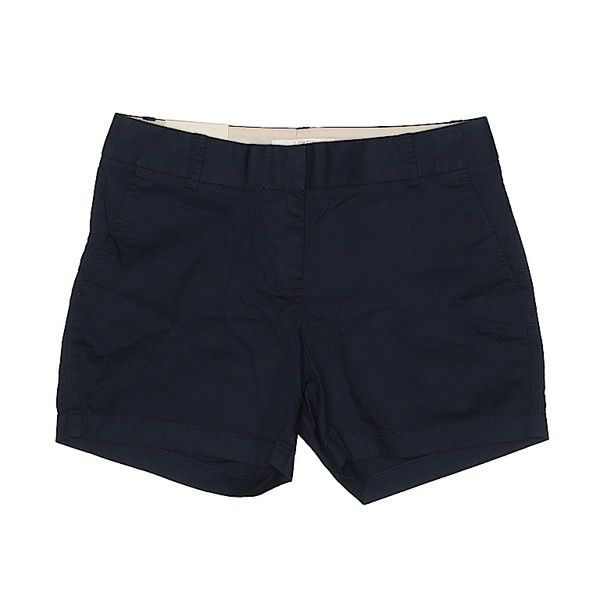 J. Crew Factory Store Khaki Shorts ($12) ❤ liked on Polyvore featuring shorts, navy blue, cotton shorts, khaki shorts, navy blue khaki shorts, navy shorts and navy blue shorts