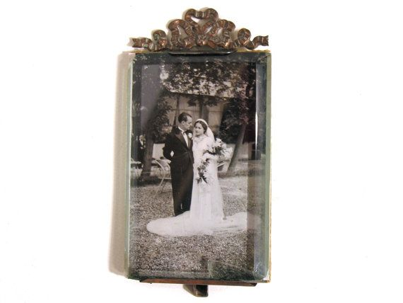French Wedding Picture-Glass and Metal by LArriereBoutique on Etsy