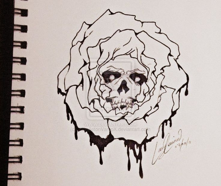 Skull Rose Tattoo by XSkelletonVampX on DeviantArt