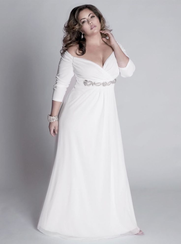 fall plus size a-line wedding dress with sleeves