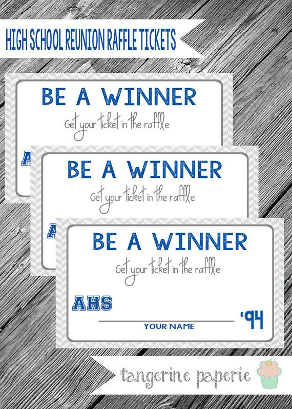 High School Reunion Printable Raffle Tickets  by TangerinePaperie