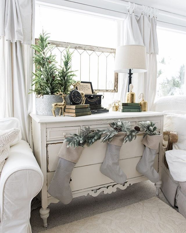 Today on the blog I shared our sunroom decorated for Christmas. I went super simple & neutral in this room & I can't wait for you to see it: Lizmarieblog.com - link in my profile. Head on over to take the full tour. I loved this dresser before, but I love it even more now with stockings hanging in it. #WhiteCottageFarm http://liketk.it/2pFQu @liketoknow.it #liketkit #farmhouseholidayseries