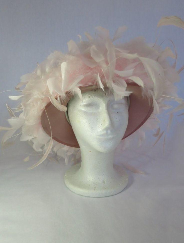 Vintage Hat - Pink Feather Hat - Spring Racing Carnival