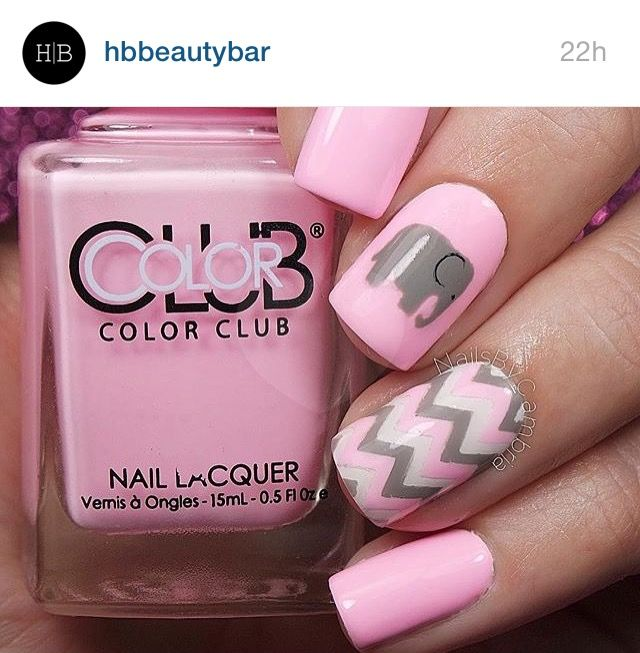 Pink & grey chevron with elephant