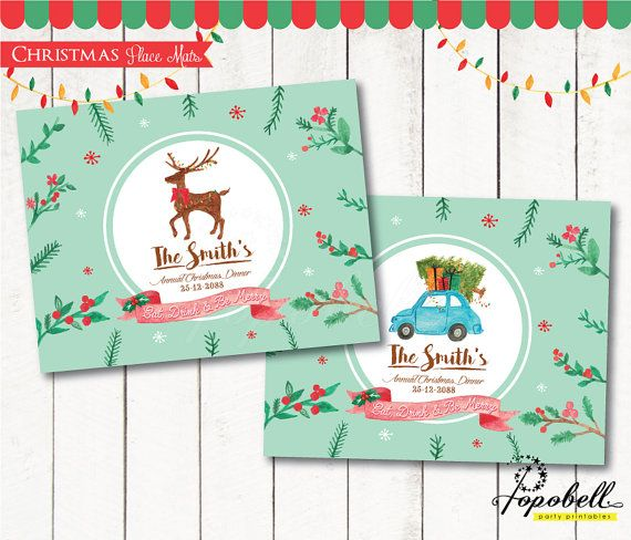Christmas Personalized Place Mats for Christmas Party. by Popobell