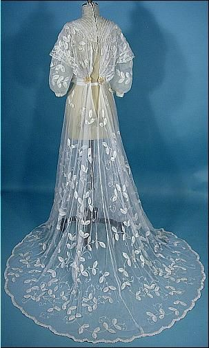 c. 1900's Wedding Gown of White Tambour Net Lace with Ecru Satin and Pearl Flower Trim Back