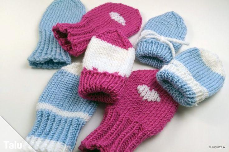 Babyhandschuhe stricken – Anleitung für Baby Fäustlinge