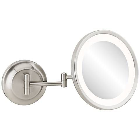 Single-Sided Polished Nickel 5X Magnifying LED Makeup Mirror - #21T69 | Lamps Plus