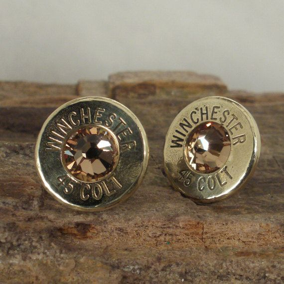 Bullet  Earrings  - Stud Earrings - Ultra Thin - Colt 45 - Gold Rush. $14.99, via Etsy. I could make some of these with some used shot gun shells I have.