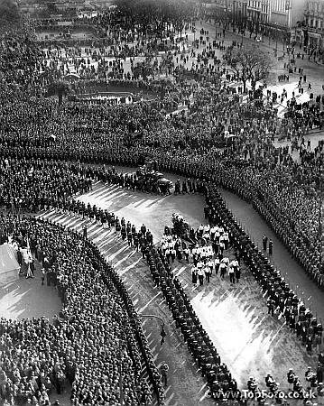The funeral cortege of Eva Peron. Buenos Aires. 10th August 1952.