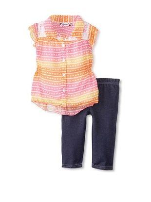 58% OFF Speechless Girl's 2-6X Flutter Sleeve Capri Set (Orange)