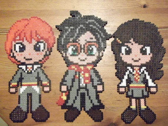 Harry Ron and Hermione hama perler by beadstoterabithia