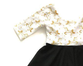 Einhorn Twirl Kleid / Einhorn Kleid schwarz weiß Twirl Kleid / Kleinkind Twirl Kleid / Mädchen wirbeln Kleid / Twirl Babykleid / Sommerkleid