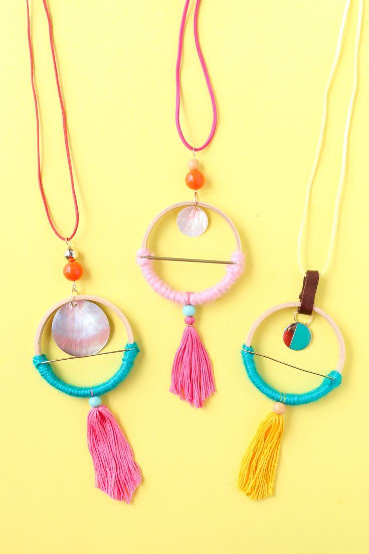 DIY Scandinavian Hoop Necklaces - embroidery hoop necklace - how to make a necklace - make your own jewelry - summer necklace