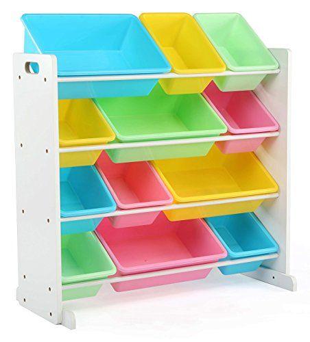 Tot Tutors Kids' Toy Storage Organizer with 12 Plastic Bins White/Pastel (Pastel Collection)