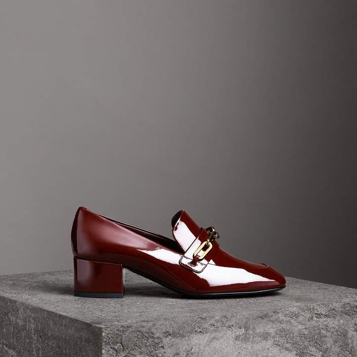 5189dc32785c Link Detail Patent Leather Block-heel Loafers in Burgundy Red - Women in  2018