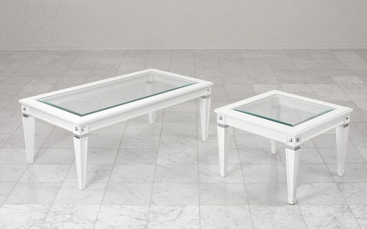 The wooden coffee table Ambassador is made of solid wood and features an inlaid glass table top.