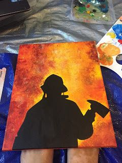 """Cookies and Creations: """"Firefighter Gift Basket"""" Firefighter Painting"""