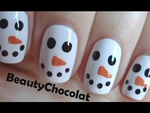 snow man nails | ... snowman nail art christmas nails Quick and Easy Christmas Snowman Nail