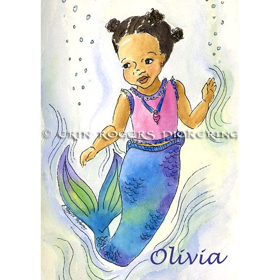My Little Mermaid of color Modern fairy tales5x7 by eringopaint, $17.00