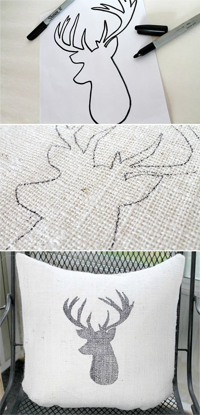 DIY Deer Head Burlap Pillow tutorial, would do this with a different animal or maybe a silhouette of each kid on separate pillows