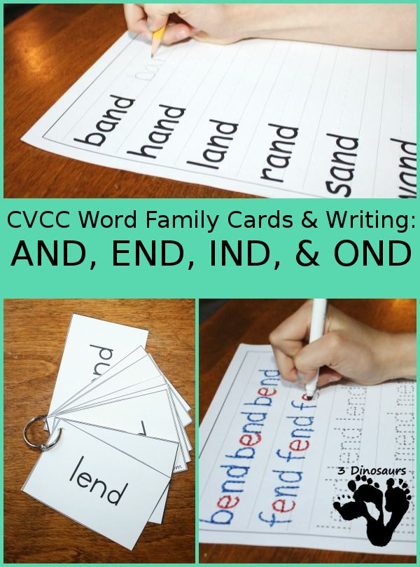 Family End Of The Year Time Capsule: Free CVCC Word Family Cards & Writing: AND, END, IND