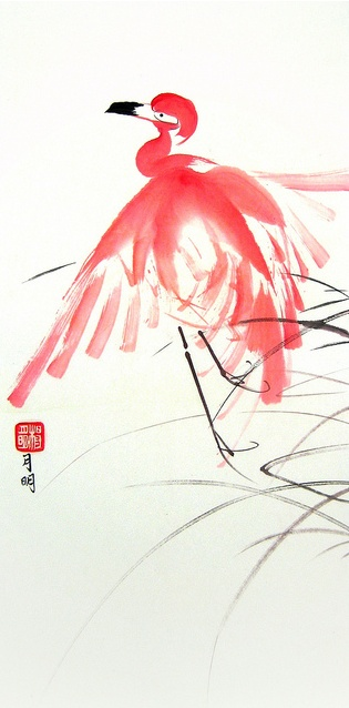 Graceful Flamingo Canvas Print / Canvas Art by Ming Yeung