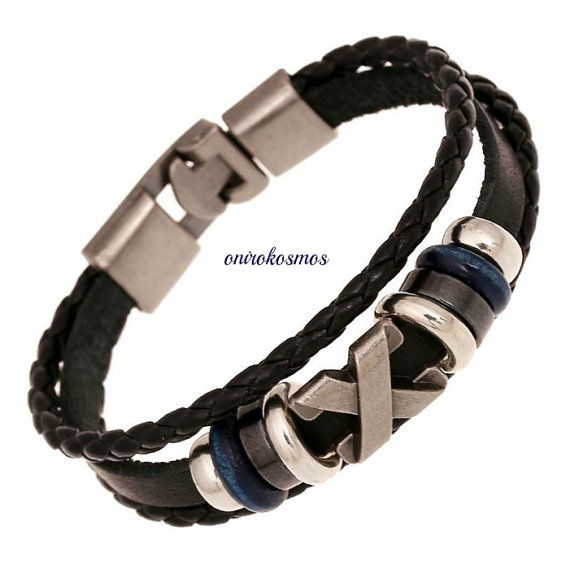 "Unisex Handmade Style ""X"" Charm Multilayer Braided Black Leather Stainless steel Bracelet Wristband."