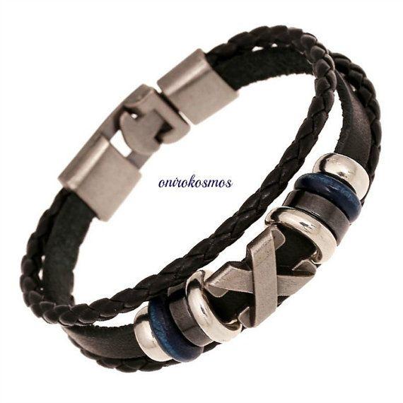 "Unisex Handmade Style ""X"" Charm Multilayer Braided Black Leather Stainless steel Bracelet Wristband."