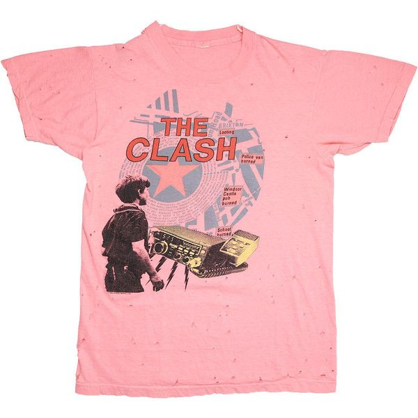 Clash Shirt Vintage tshirt 1984 Out Of Control Tour concert tee 1980s... ($100) ❤ liked on Polyvore featuring tops, t-shirts, vintage rock t shirts, collared shirt, white graphic tees, vintage t shirts and rock t shirts
