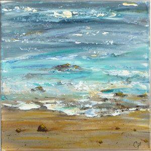 Abstract schilderij van strand  Titel: Zonnige kustlijn /5  Hier is een close-up van de kustlijn van de Oceaan, op een mooie dag met de zon weerspiegelt off van helder blauw en turquoise gekleurde golven en kleine stenen. Dikke verf toegepast met de Paletmes groot textuur en 3D-effect toegevoegd. Het lijkt klaar om stap in! Dit is een 12 x 12-canvas gedaan met zowel de borstel als Paletmes, de zijkanten zijn geschilderd een zand Toon, dus er is geen behoefte van inlijsten tenzij gewenst,...