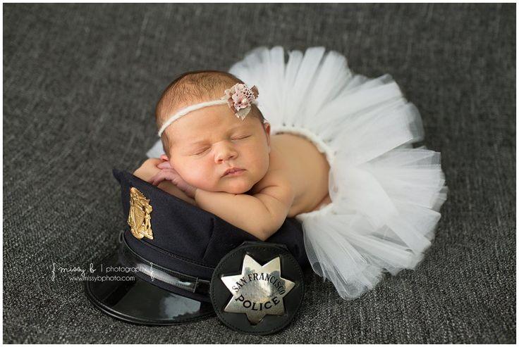 Newborn Girl Photo session, 12 Days New | Police Newborn Photo, tutu, law enforcement newborn, military newborn Bay Area Newborn Photographer Missy B Photography www.missybphoto.com www.missybphotoblog.com