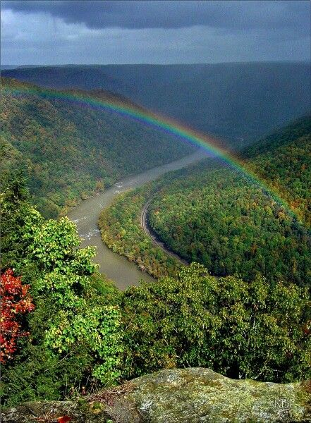 Rainbow over the Gorge in Grandview, West Virginia by Rick Burgess Photography